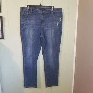 Basic Editions Distressed Blue Wash Jean's Size 12